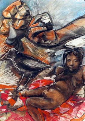 Drachen VII, 1984, Pastell auf Papier, 70 x 100 cm