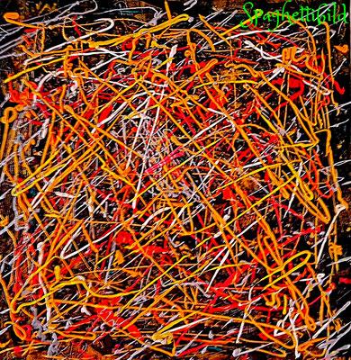 40 x 40 cm, Öl auf Leinwand, inspiriert durch Jackson Pollock