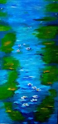 Seerosenbild 1, 50 x 50 cm, Öl auf Leinwand, inspiriert von Claude Monet