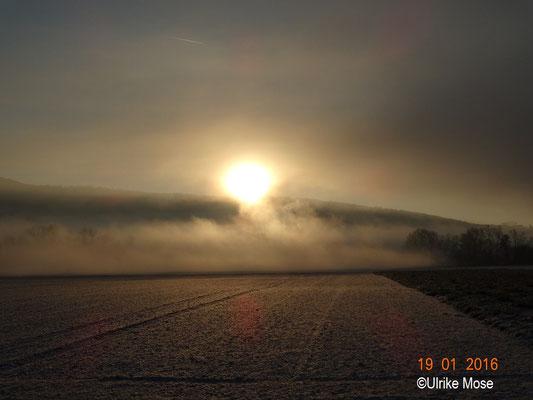 """Winterimpression """"aufgehende Sonne""""."""