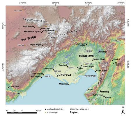Karte mit der Lage von Zeyve Höyük und Kınık Höyük.