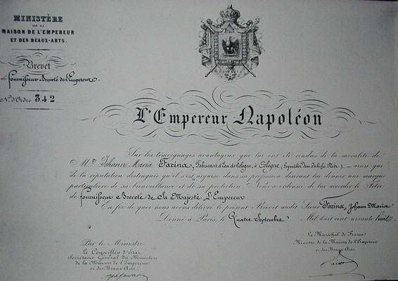 Die Urkunde von Napoleon III. für das Haus Farina