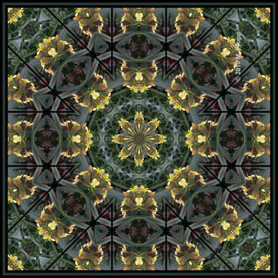 Mandala Blumen, gelb grün