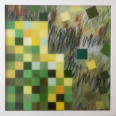 o. T., 2011; überarbeitet 2020, Öl-Hinterglasmalerei, 53 x 52,5, Preis: 900 Euro