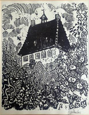 Haus Esselt, Bildgröße  46x 36 cm,  im Passepartout 55 x  45 cm, Holzschnitt 1959, Preis: 1100 Euro