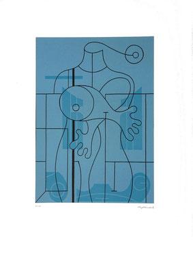 """Blauer Torso"", Farblinoldruck, 1999, (4/25), 42,1 x 30 cm, Blattgröße ca. 70 x 50 cm. Preis: 360 Euro"