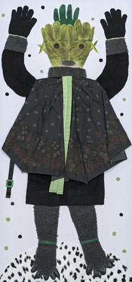 Erlkönigs Tochter,  140x65 cm, Materialbild 2014, Preis: 900 Euro.