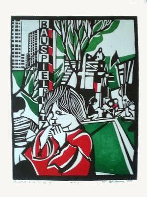 """Bauspielplatz, Einzelblatt aus """"Bilder der Großstadt"""", mehrfarbiger Holzschnitt, 1979, handsignierter Probedruck, 40 x 28 cm, Preis: 290 Euro"""