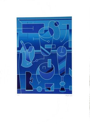 """""""Stillleben I-98, Farblinoldruck, 1998, (3/45), 42,1 x 30,1  cm, Blattgröße ca. 59,5 x 50  cm. Preis: 360.- Euro"""