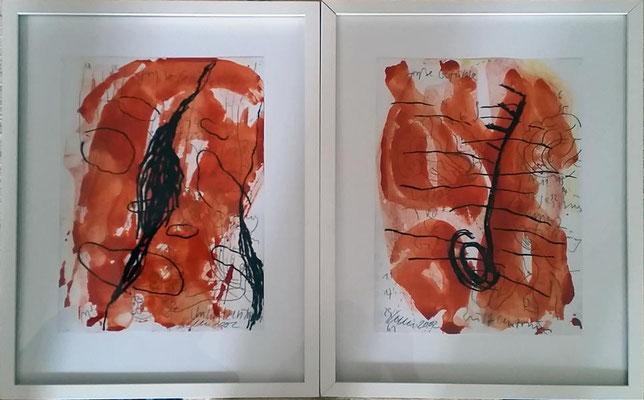 Große Gefühle I und II, Mischtechnik, je 30 x 20 cm, Unikate, Preis je Bild mit Rahmen: 500 Euro,  zusammen 950 Euro