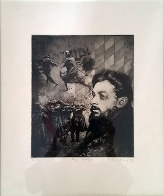 """""""Eugen Leviné"""", Radierung , 1983, handsigniert, 30 x 35 cm, Preis mit Rahmen: 380 Euro"""