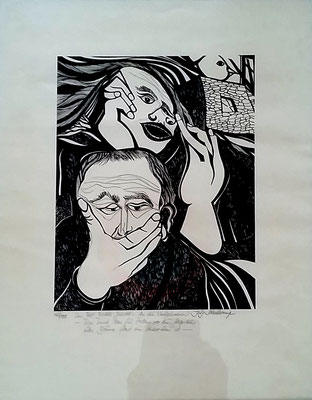 """""""An die Nachgeborenen"""", Hochdruck 42/100, 31 x 24 cm, vom Künstler mit Text beschrieben und handsigniert, Preis: 190 Euro"""