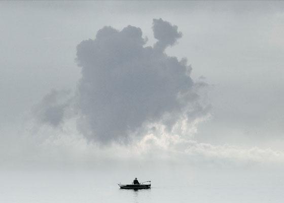 einsamer Wolke gleicht mein Sinn, kein Ort, wo er verweilt,  Bildgröße: 30 x 21 cm, mit Passepartout und Rahmen 30 x 40 cm, Preis: 390 Euro