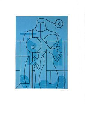 """""""Blauer Torso"""", Farblinoldruck 1999, 4/25, 30 x 42 cm, Blatt 50 x 70 cm, Preis: 360 Euro"""