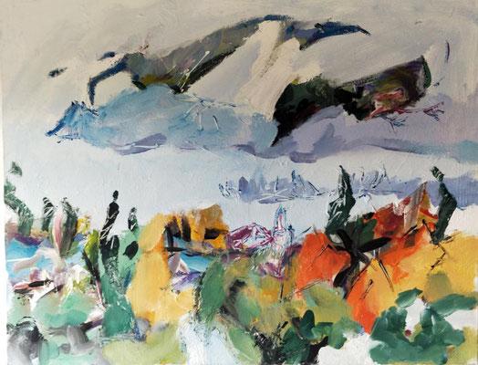 Die Dächer von Gaino/ Gardasee, Acryl auf Leinwand, 100 x 80 cm, Preis: 800 Euro