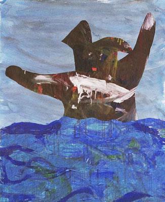Der Bär im Meer, 50 x 70 cm, Papiercollage 2004, Preis: 400 Euro