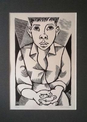 """Sitzender Junge, Holzschnitt 78/100, handsigniert mit Widmungsaufschrift """"Para Nele"""", Bildmaß: 22 x 40 cm, Preis: 240 Euro mit Rahmen"""