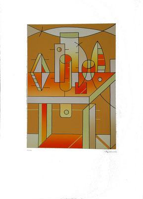 """Futuristenjause"", Farblinoldruck, 2000, (10/30), 42,1 x 30,1 cm, Blattgröße ca. 70 x 50 cm. Preis: 360 Euro"