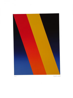 """""""Schrägflächen"""", Farblinoldruck, 1994, (28/50),  41,9  x 30,2 cm, Blattgröße ca. 70 x 50 cm. Preis: 360 Euro"""