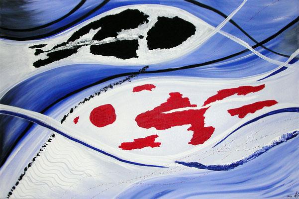 Shiro-Kohaku-Wave 40 x 60 cm