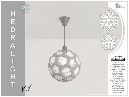 Luminaire Hedralight lustre modele V.1 gris 01