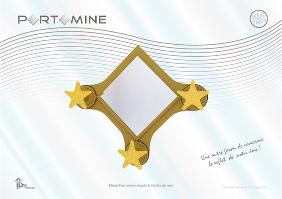 Miroir & patères Portomine simple & étoiles de mer print 3D