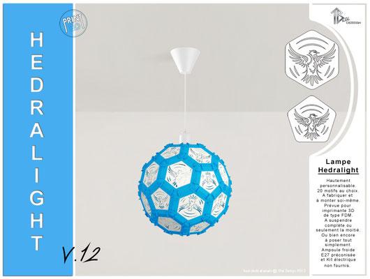 Luminaire Hedralight lustre modele V.12 bleu ciel