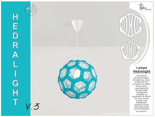 Luminaire Hedralight lustre modele V.3 bleu ciel