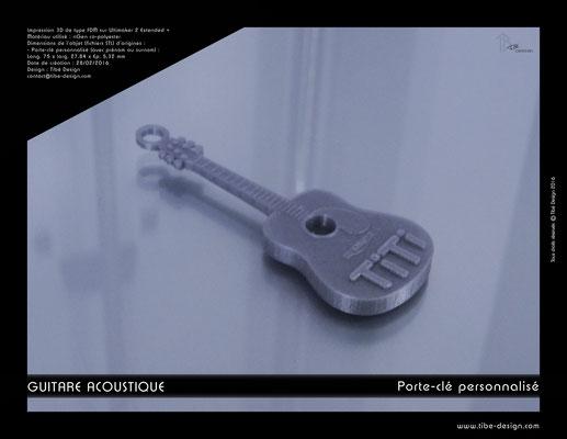 Porte-clé personnalisé guitare acoustique print 3D 3