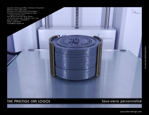 Sous-verre et porte sous-verre The Prestige Car Logos impression 3D 02
