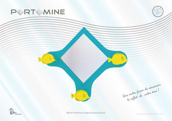 Miroir & patères Portomine simple & poissons jaunes print 3D