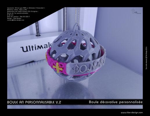 Boule décorative de l'an personnalisable V.2 02