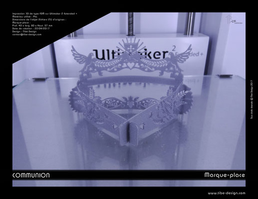 Marque-place Communion impression 3D 3