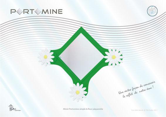 Miroir & patères Portomine simple & fleurs pâquerettes print 3D
