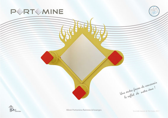 Miroir & patères Portomine Flammes & losanges print 3D