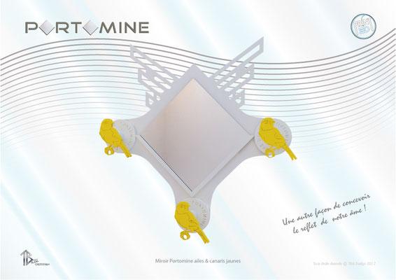 Miroir & patères Portomine ailes droites & canaris jaunes print 3D
