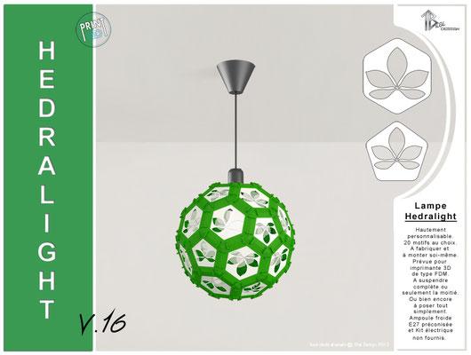 Luminaire Hedralight lustre modele V.16 vert foncé