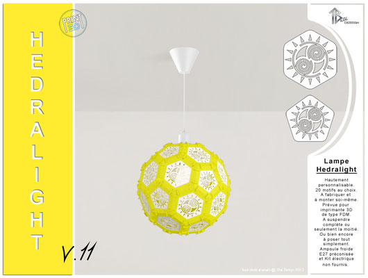 Luminaire Hedralight lustre modele V.11 jaune