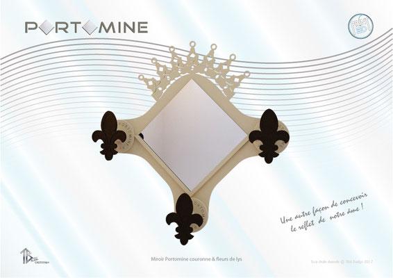 Miroir & patères Portomine couronne royale & fleurs de lys print 3D
