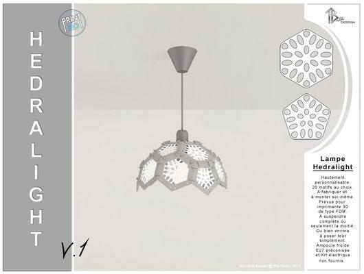 Luminaire Hedralight lustre moitié modele V.1 gris 01