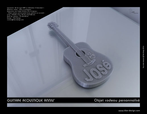 Objet cadeau personnalisé guitare acoustique print 3D 2