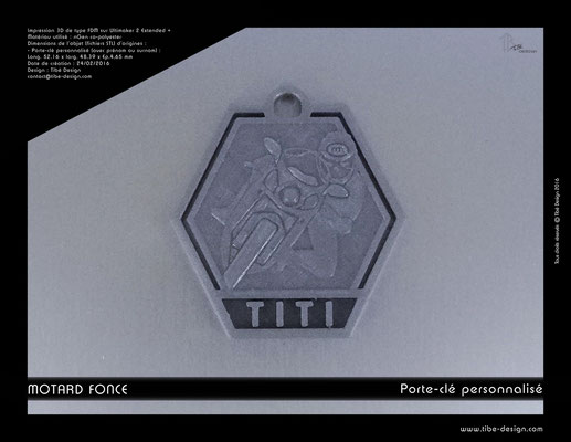 Porte-clé personnalisé motard fonce print 3D 4