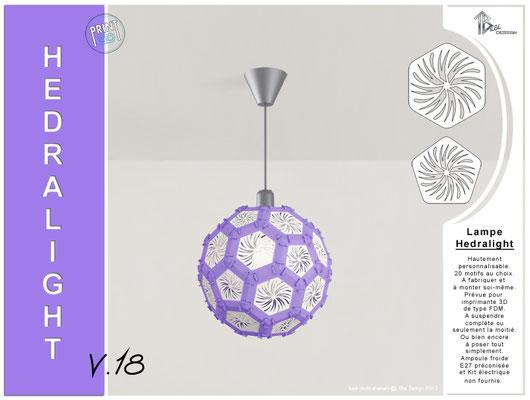 Luminaire Hedralight lustre modele V.18 lila