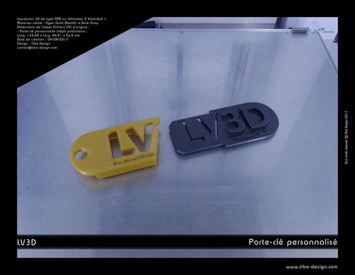 Porte-clé personnalisé LV3D 3