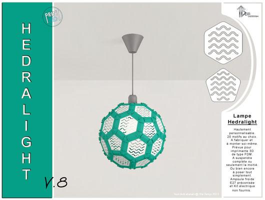 Luminaire Hedralight lustre modele V.8 menthe