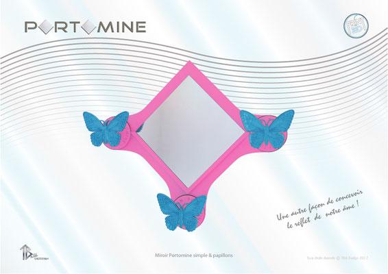 Miroir & patères Portomine simple & papillons print 3D