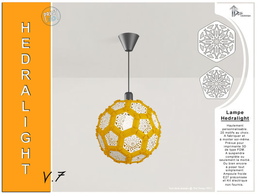 Luminaire Hedralight lustre modele V.7 orange