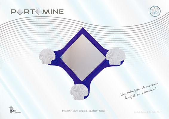 Miroir & patères Portomine simple & coquilles St-Jacques print 3D