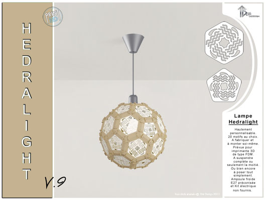 Luminaire Hedralight lustre modele V.9 métal doré