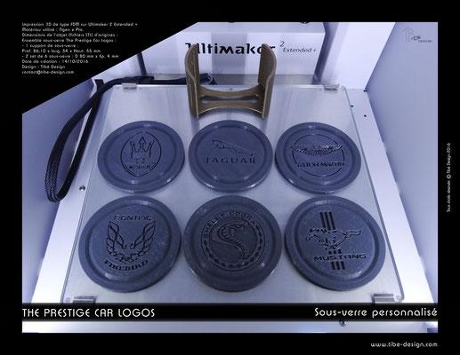 Sous-verre et porte sous-verre The Prestige Car Logos impression 3D 06